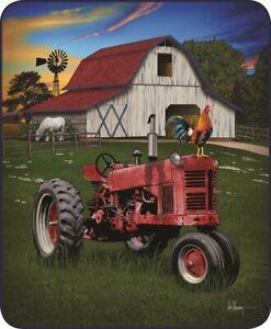 Queen Farming America Barn Red Tractor Mink Faux Fur Fleece Blanket Luxury Plush