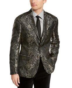 Tallia Orange Men's Slim-Fit Gold/Black Snakeskin Jacquard Dinner Jacket 40S