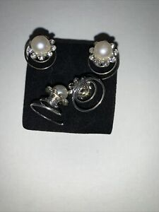 Pearl and glass crystal hair coils - Set of 4 - BNIP