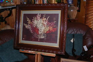 "Vintage lithograph by Aust. artist Allan Bernaldo ""Gladioli"" in antique frame."