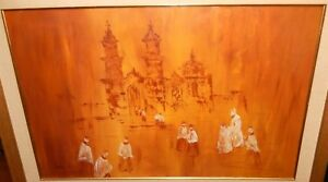 """ROBERT JARVIS """"OLD CHURCH AT MARFIL MEXICO"""" ORIGINAL ACRYLIC ON CANVAS PAINTING"""