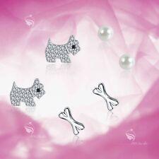 925 silver earrings set puppy dog bone pearl stud 3 pairs gift pack girl kids