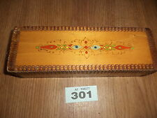 Carved wooden box old pencil box