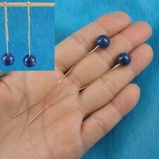 14k Yellow Solid Gold Threader Chain Genuine Blue Lapis Bead Dangle Earrings TPJ