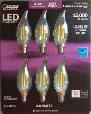 6 Feit Electric LED Candelabra Chandelier Dimmable Light Bulbs 3.8W 40 WATT A19