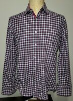 Canali Mens Casual Button-Up Dress Shirt Purple Gray White Check Made in Italy