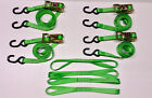 """4pc Heavy Duty Motorcycle, ATV Ratcheting 1""""x10' Tie-Down Straps & 4 Soft Ties"""