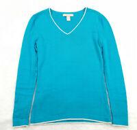 Banana Republic Women's Size XS Knit Top, V-Neck Bright Blue Long Sleeve