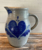 """Vintage 1984 Rowe Pottery Works Pitcher Stoneware Heart Design 7.5"""" Tall"""
