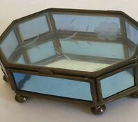 Via Vermont Jewelry Box Etched Flower Blue Glass Octagon Mirror Brass Vintage
