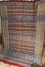 Moroccan Berber Kilim Rug Teflet Carpet - Muted Colors - Evil Eyes -  7.1 x 4.11