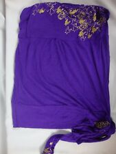 Ecko Red Purple Gold Sleeveless Strapless Women's Top Blouse Knot Size M Medium