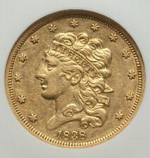 1838 $5 AU53 NGC Liberty Gold Half Eagle