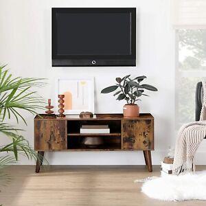 Dark Brown TV Stand Scandinavian Retro Unit Wooden Media Vintage Side Cabinet
