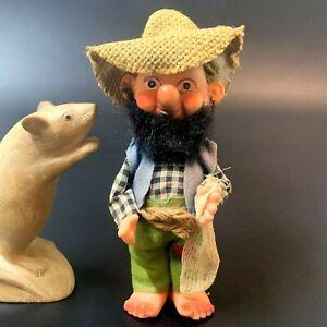 Vintage 70s Bearded Hillbilly Gnome Doll 18cm Hessian Hat, Twine Belt, JAPAN