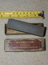 Vintage NORTON ABRASIVES OILSTONE INDIA Small Razor Blade Knife Hone in Box
