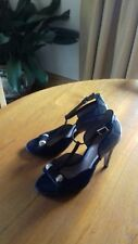 CLARKS sandals shoes UK4 heeled black suede and snakeskin print