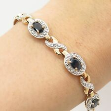 Sterling Silver Gold Plated Real Saphire Gemstone Diamond Accent Bracelet 7 1/4""