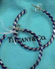Tiffany & Co RARE LARGE Silver Paloma Picasso Blue Enamel Stripe Hoop Earrings