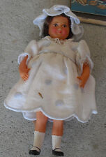 "Vintage 1950s Painted Face Celluloid France 30 2 Dollhouse Girl Doll 5"" Tall"