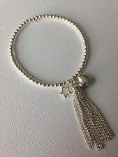 Handmade Bijoux Silver Plated Tassel, heart & star Beaded Bracelet