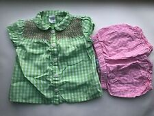 Girl's Size 9M 6-9 Months Two Piece Green Checkered Carter's Top + Pink Bloomers