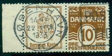 DENMARK (RE54) 10ore brown BERENES KONTOR adv pair used