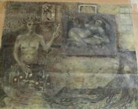 LARGE OIL PAINTING SURREALISM EXPRESSIONISM MODERNISM NUDE MEDUSA ABSTRACT