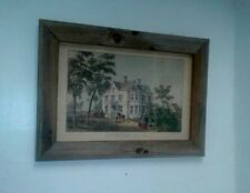 """ART Currier & Ives 18th C-19th C.Reprint of  """"Cottage Life-Spring"""" Rustic Frame"""
