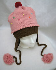 STRAWBERRY CUPCAKE HAT knit LND beanie toque cup cake costume ADULT ski cap PINK