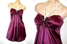 NWT Rhinestone Halter Stretch Satin Bubble hem Mini Party Prom Dress