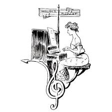LADY PIANIST COLLAGE lg. unmounted rubber stamp, music, piano #10