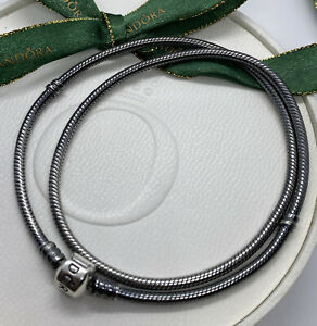 Pandora Oxidised Silver Snake Necklace Chain - 590703OX 45cm Authentic Ale