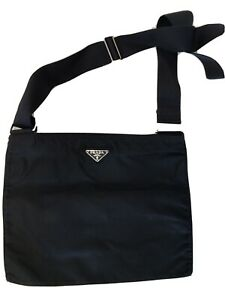 AUTH PRADA BLACK MESSENGER BAG  USED and in FAIR CONDITION