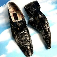 Mens Black Leather Shoes Harness Loafers Handmade 13M Todd Welsh Design Asylum