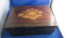 RARE ancien boite coffret palissandre marqueterie de fleurs charles X