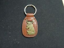 FUNNY FOX WITH GLASSES   KEY CHAIN BRASS ON LEATHER  MEDAL VINTAGE KEYCHAIN