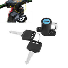 Universal Motorcycle Motorbike Bike Helmet Lock Hanger Hook + 2 Keys Set Black