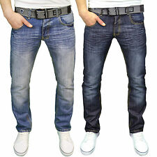 Crosshatch WAK DESIGNER Mens Denim Jeans Straight Leg Trousers With Webbed Belt 30 Inch Waist 32 Regular Leg Dark Wash