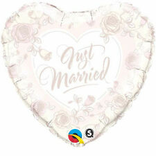 """JUST MARRIED PARTY SUPPLIES 18"""" JUST MARRIED SOFT PINK & WHITE QUALATEX BALLOON"""