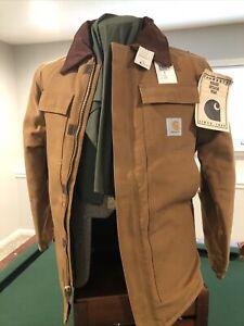 Carhartt Field Coat CQ186 Irreg NOS NWT Sz 38 Quilt Lined Cord Collar Zip Up Vtg