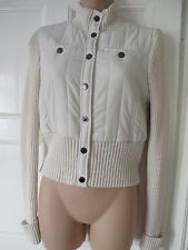 BCBG Max Azria off white bomber knitted jacket jumper UK8 EU36 US4 XS