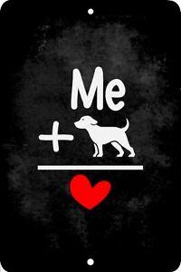 Me + dog = Love, Home Sign, Home Decor Metal Aluminum, Black
