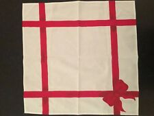 """White Cloth Christmas Napkin With Hand Painted Red Bow On It 22"""" x 22"""""""