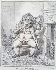 1940s James Gillray 1806 Caricature WIDE AWAKE etching PRINT Art Rare vtg
