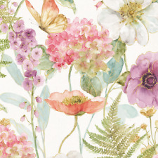 Large Floral, Watercolor Pastels, Rainbow Seeds, Wilmington Prints (By 1/2 yard)