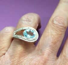 Cocktail Ring by STS Silver Blue Topaz and White Sapphires Size P