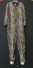 NICK & NORA Leopard One Piece Union Suit Pajama Kitty  Cat Feet Footsie Animal L