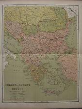 1886 ANTIQUE MAP ~ TURKEY IN EUROPE WITH GREECE BULGARIA SERVIA BOSNIA