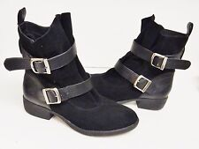 MIA ODETTA Boots Booties Ankle Suede Leather Buckle Straps PULL ON BLACK  7.5